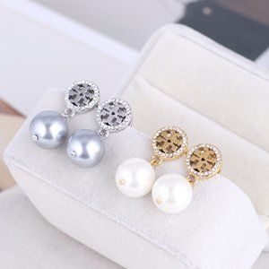 Tory Burch Round Hollow Marking Pearl Earrings